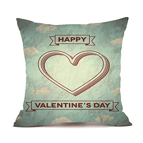 (iYBUIA Happy Valentine Soft Fabric Pillow Cases Super Cushion Cover Home Decor18x18 inch)