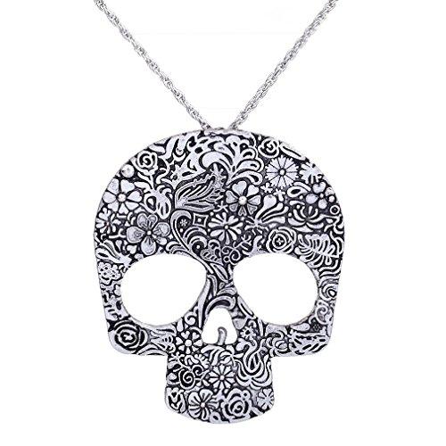 YAZILIND Punk Flower Pattern Skull Pendant Chain Necklace 27