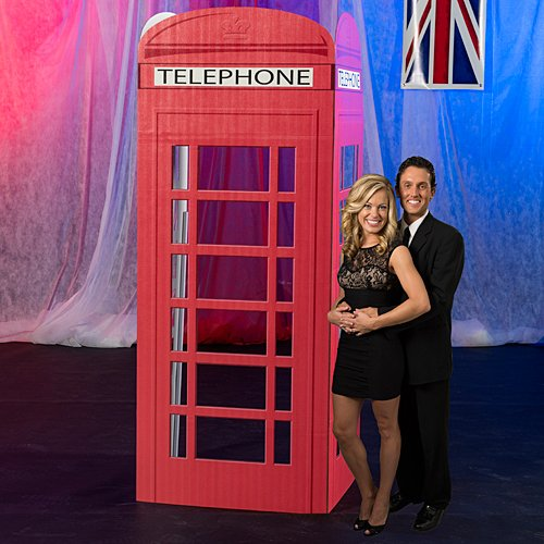 (7 ft. 3 in. 3D London Telephone Booth Standee Standup Photo Booth Prop Background Backdrop Party Decoration Decor Scene Setter Cardboard Cutout)