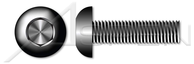 (600 pcs) #8-32 X 5/16'', Button Head Hex Socket Cap Screws, UNRC Coarse Thread, Alloy Steel, Black Oxide, Holo-Krome