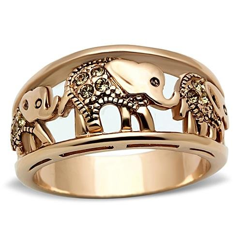 Stainless Steel Rose Gold Plated Citrine Yellow Crystal Elephant Cocktail Band Ring, Free Shipping, Size 5,6,7,8,9,10 (Gold Citrine Cocktail)