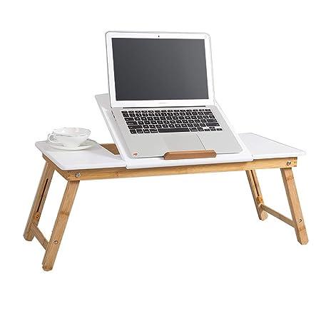 HANSHAN Mesas Escritorio portátil de bambú para portátiles, Mesa ...