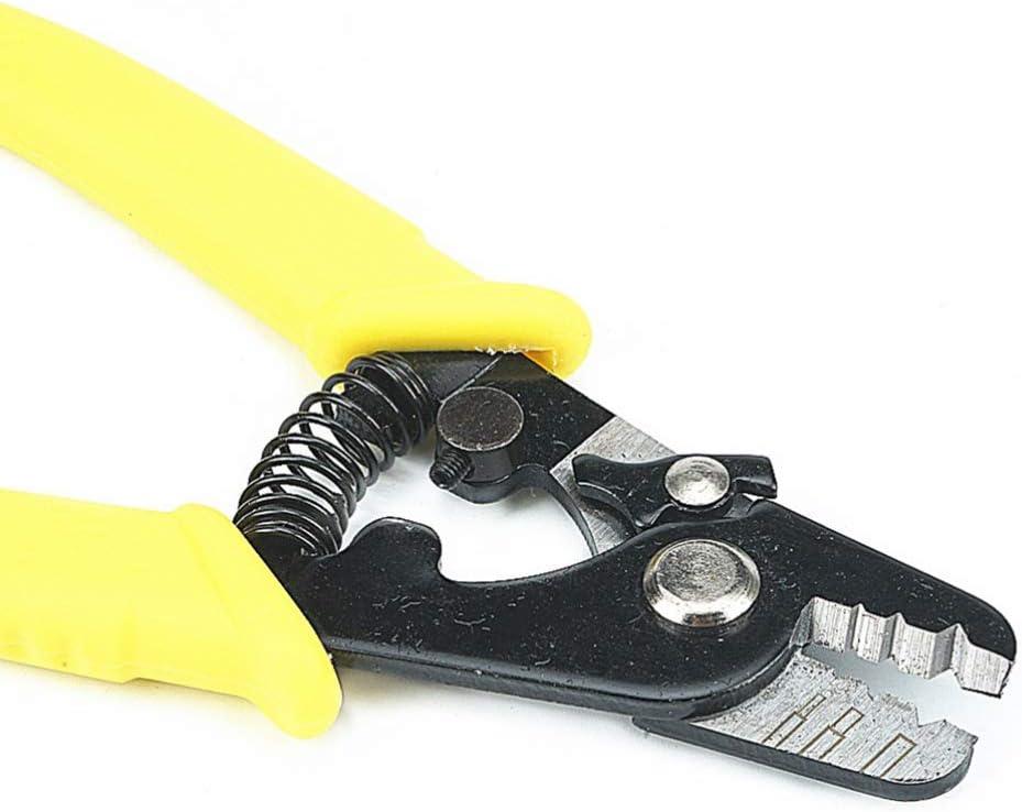 ULTECHNOVO GQ-336 Pince /à D/énuder Pince Multi-Usages Pratique pour Couper Les Fils Outil de Compression de D/énudage de Fibre Optique /à 3 Trous avec Poign/ée Souple Jaune