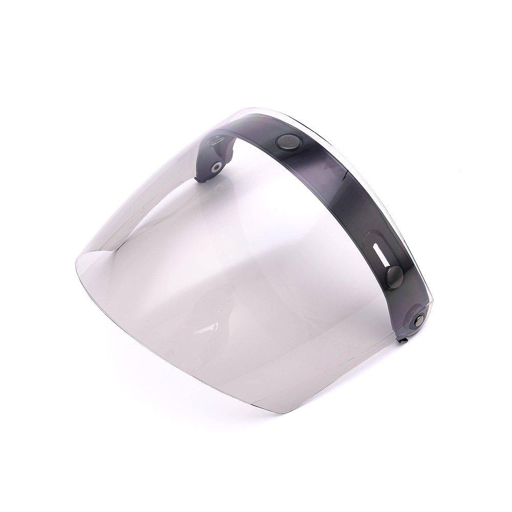Universal 3 Snap Flip Up Visor Shield Lens for Retro Open Face Motorcycle Helmet by MotorFansClub (Smoke)