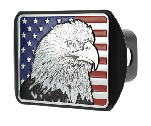 - eVerHITCH USA US American Flag Eagle Metal Flag Emblem on Metal Trailer Hitch Cover (Fits 2
