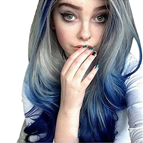 Hot Sale! Women Wigs,Cosplay Party Fashion Long Curly Wavy Synthetic Full Hair Wig Grey Blue Costume Hairpiece (Blue and Gray) -