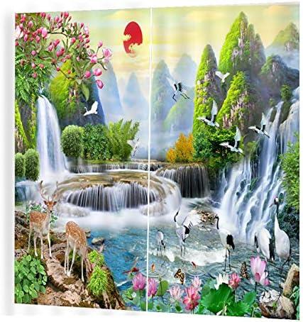 QinKingstore 滝プリントカーテンルーム3dカーテンウィンドウドレープBJQ-1280(9)150 * 166cmトレンディなリビングルームベッドルームブラックアウト