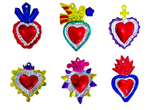 Mexican Milagros Charms - Tin Painted Sacred Heart Ornaments - Mexican Art (Set of 6) - Multicolor