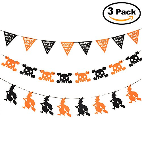 (3 PCS) Halloween DIY Decoration Props, Witch, Skull, Pull Flag String, Suitable for Garden, Living Room