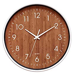 12-Inch Wooden Look Office Wall Clock - Silent & Non Ticking - Large, Round & Easy to Read - Decorative for Living Room, Office, Classroom - Cream