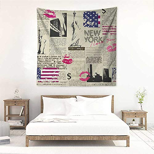 Willsd United States DIY Tapestry Newspaper New York with Sketchy Statue of Liberty and Texts Lipstick Vintage Literary Small Fresh 47W x 47L INCH Multicolor]()