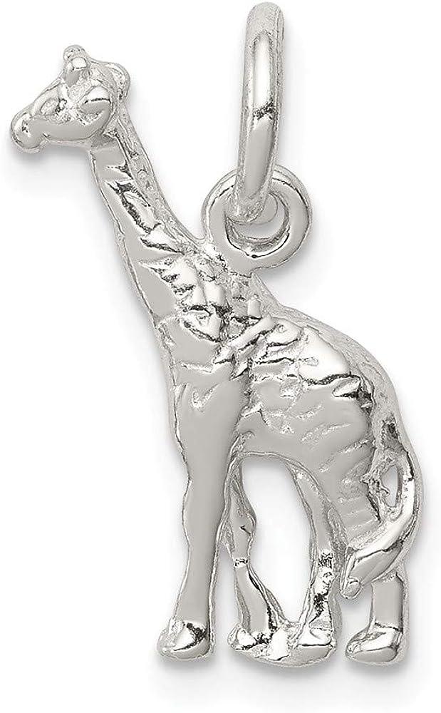 19mm x 12mm Solid 925 Sterling Silver Giraffe Charm Pendant