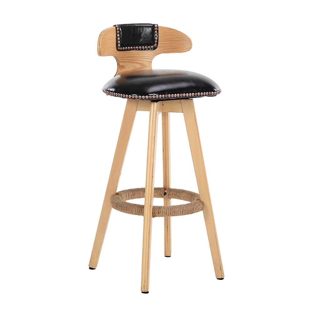 Black Barstool,Restaurant High Stools, Solid Wood Lounge Chair, redate Footrest   60cm High Suitable for 100 Bar Counters White, Black JINRONG (color   White)