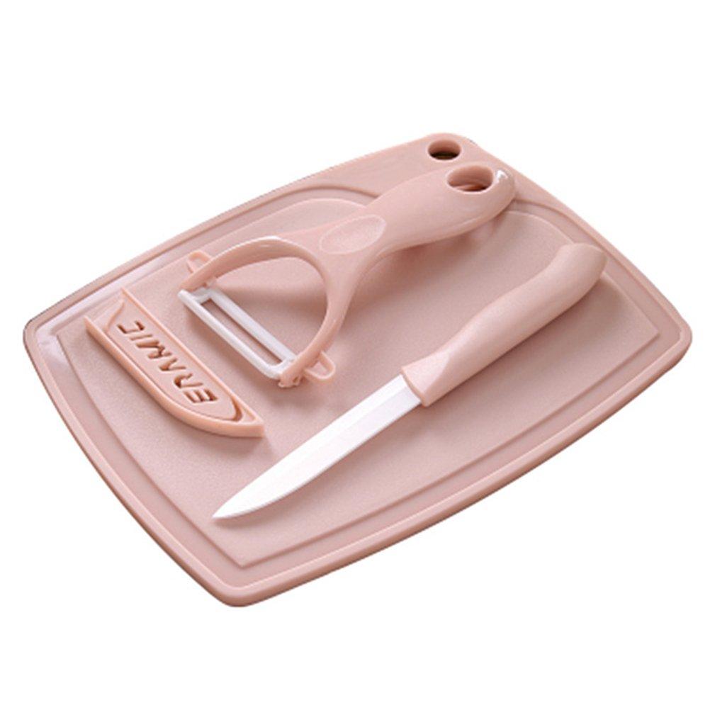 BESTONZON Kitchen Tools Set Multifunctional Peeler Chopping Board Set (Pink)