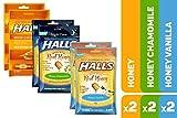 HALLS Honey Cough Drops Variety Pack - 170 total drops (Honey, Honey Vanilla & Honey Chamomile)