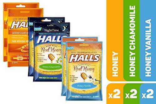 Vanilla Lemon Drop - HALLS Honey Cough Drops Variety Pack - 170 total drops (Honey, Honey Vanilla & Honey Chamomile)