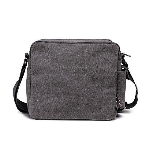 Lona hombre vendimia bolso mensajero de cuerpo cruz hombro bolso escuela paquetes ocio (gris) gris