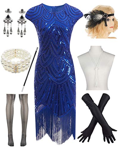 Women 1920s Vintage Flapper Fringe Beaded Gatsby Party Dress with 20s Accessories Set Blue]()