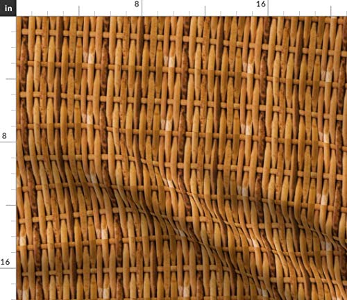 Spoonflower Basket Fabric - Weave Basketweave Straw Wood Brown Tan by Peacoquettedesigns Printed on Performance Piqué Fabric by The Yard - Print Basket Shirt Weave