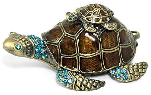 Waltz&F Turtle Trinket Jewelry Box with Sparkling Light Green Crystals,Hinged Trinket Box Hand-painted Figurine Collectible Ring (Turtle Hinged Trinket Box)