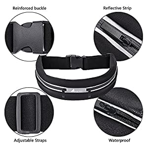 Running Belt Waist Pack Fanny Pack Waterproof Sweat Expandable Resistant dual pocket Best Fitness Pouch for iphone 6,7 Plus, Keys,Cards Wallet for Workout Sports