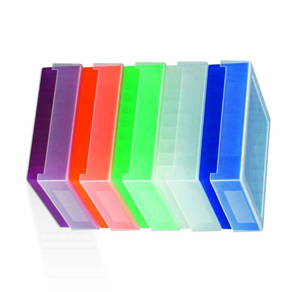 Bel-Art F18852-0012 81-Place Plastic Freezer Storage Boxes; 5.5 x 5.5 x 1.9 in., Blue (Pack of 5)