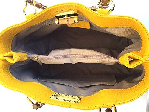 Main À Poignées Sac Fabriqué Jungle Bambou Véritable Jaune Italie Avec En Superflybags Model Cuir qwEn5FFzC