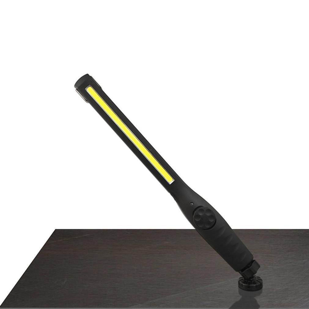 Transer 410 Lumen Rechargeable COB LED Slim Work Magnetic Inspection Light Torch Handheld Flashlight Home Garage Car Emergency (Black)