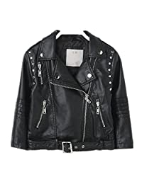 LJYH Kid's Lapel Belt Buckle Girls Boys Zipper PU Motorcycle leather Jacket