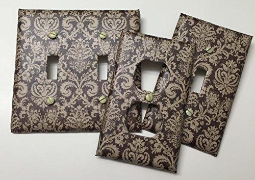 Textured Damask Cream & Brown - light plate cover,light switch plate, outlet cover, outlet plate, home decor, wall art