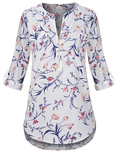 Chiffon Floral Tunic - Sunerlory Chiffon Blouse and Tops, Women Casual Notch V-Neck Roll-up Sleeve Tunic Floral Chiffon Blouse White XL