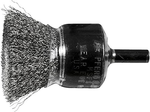 Coated Steel Wire Cup Brushes - PFERD 83056 Stem Mounted Coated Cup Crimped Wire Brush, Stainless Steel (INOX), 1