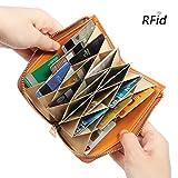 Brenice Women Card Holder Wallet, RFID Genuine Leather 17 Credit Card Holder Zipper Case Holder Short Purse Brown 3.94''x 0.79''x 5.51''(LxWxH)