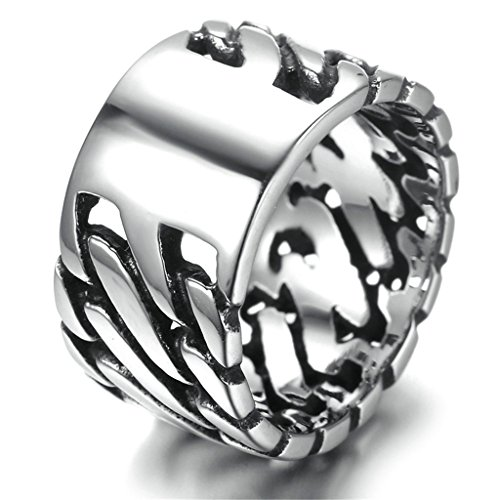 Stainless Steel Ring for Men, Rectangle Ring Gothic Silver Band 12MM Size 11 Epinki