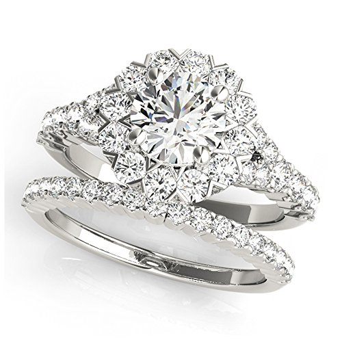 14K White Gold Unique Wedding Diamond Bridal Set Style MT50998