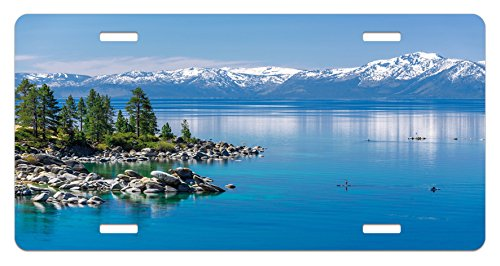 ate by Ambesonne, Blue Waters of Lake Tahoe Snowy Mountains Pine Trees Rocks Relax Shore, High Gloss Aluminum Novelty Plate, 5.88 L X 11.88 W Inches, Pale Blue Green Grey ()