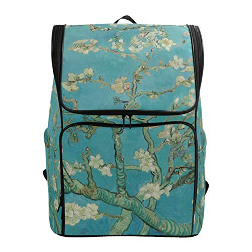 Canvas Backpack Van Gogh Branches of Almond Tree in Blossom Large Capacity School Daypack Bookbag Laptop Backpack ()