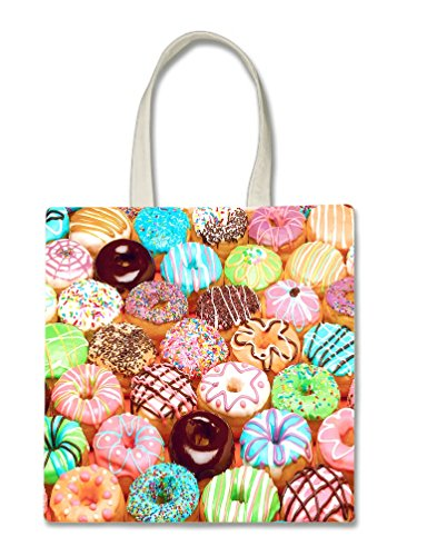Lots Donuts Doughnuts Halloween Trick Or Treat Polyester White Tote Bag 15x16x 3.5 -
