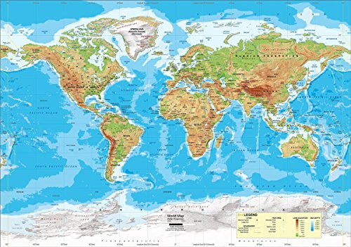 Maps Intermediate Wall Classroom - Gifts Delight Laminated 28x24 Poster: Physical Map - Intermediate U.S. World Physical Classroom Map Combination from Academia Maps