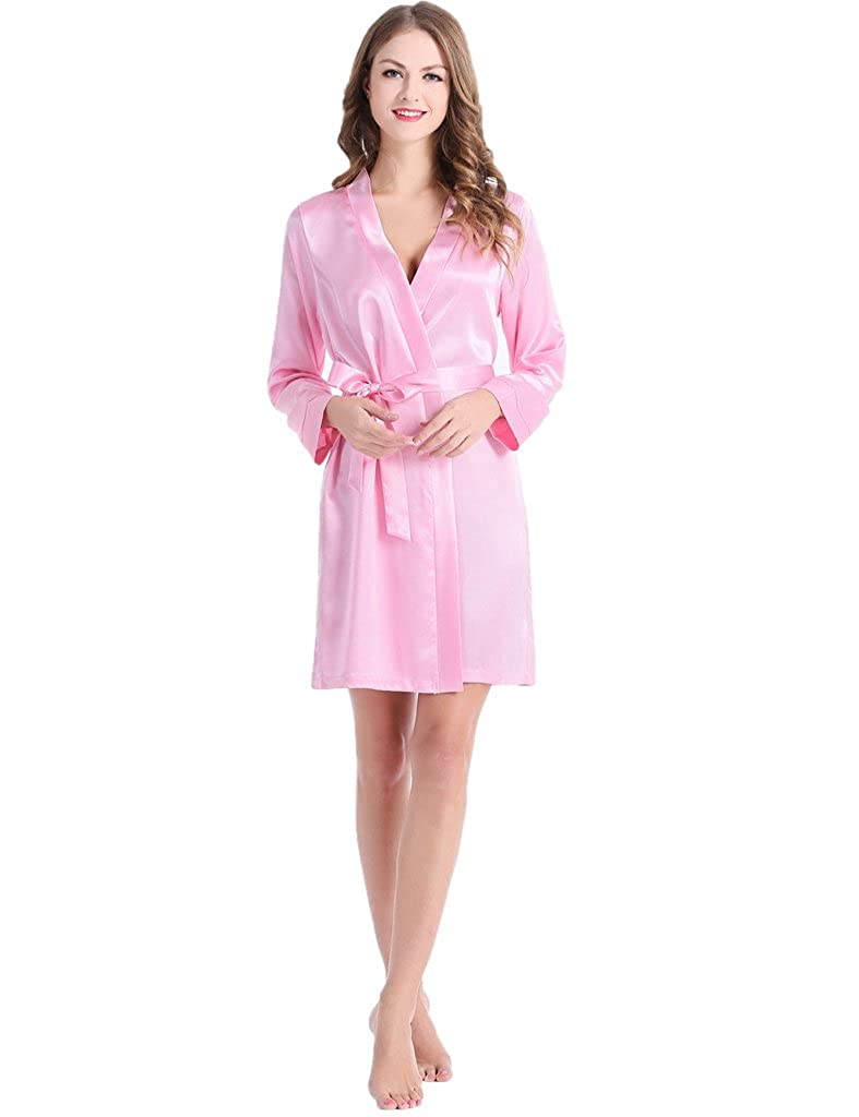 Women's Satin Long-Sleeves Bathrobe Sleepwear Plus Size 7 Colors Pink) JN003