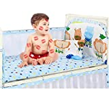 Baby Mesh Crib Liner Bed Bumper Pads Breathable 4-Sides Coverage, Anti-Collision Bedding Kit, Bed Safety Rail Guard, Thickening, Detachable & Washable, Jungle,120×70