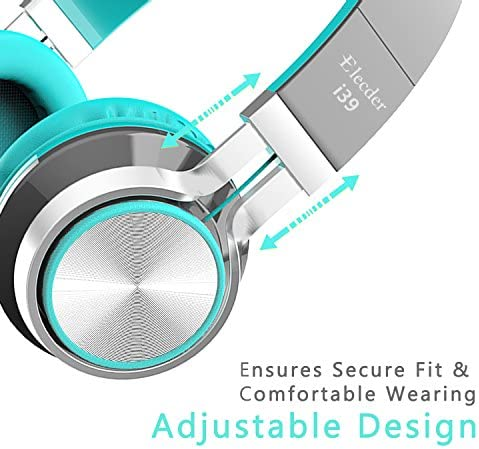 Elecder i39 Headphones with Microphone Foldable Lightweight Adjustable On Ear Headsets with 3.5mm Jack for iPad Cellphones Computer MP3/4 Kindle Airplane School (Mint/Gray) 519el2QJPyL