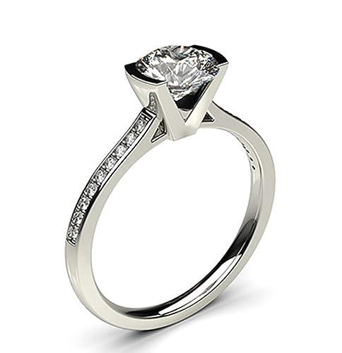 18 K oro blanco bisel Semi ajuste fino lado Diamante Compromiso Anillo de boda tamaño –
