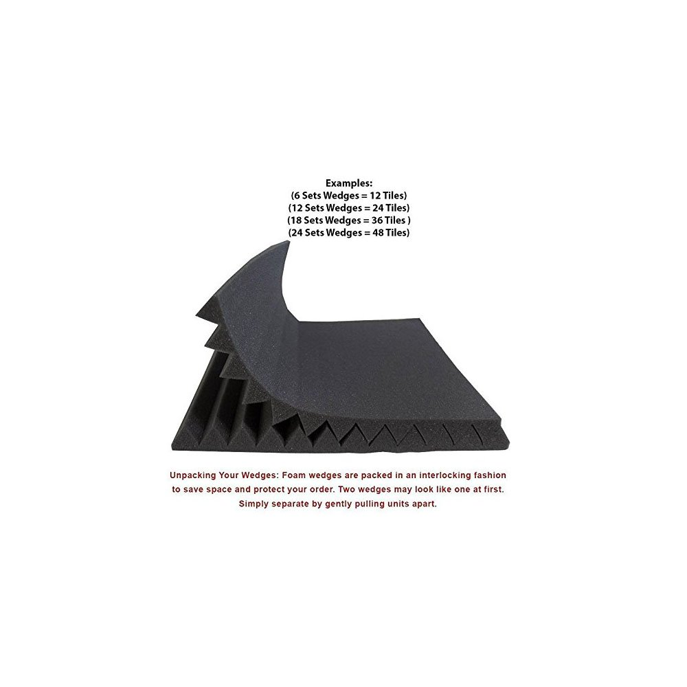 24 Pack- Charcoal Acoustic Panels Studio Soundproofing Foam Wedges Tiles Fireproof 1'' X 12'' X 12''