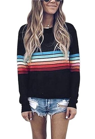 1b76114c38a3 LKOUS Women s Casual Strip Print T-Shirt Long Sleeve Tops Off Shoulder  Loose Comfy Sweatshirt