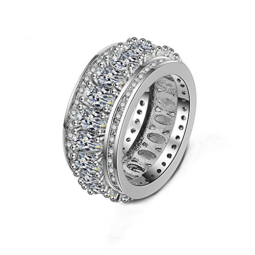 TULIP LY Vintage Style Cubic Zirconia Ring Wide Eternity Band Ring Statement Cocktail Ring Plated White Gold for Women Size (7)