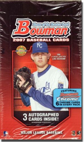 2007 Bowman / Bowman Chrome Baseball Cards Sealed Jumbo Hobby Box - 12 packs/box, 32 cards/pack including 6 chrome - Bowman Baseball Hobby Cards Chrome