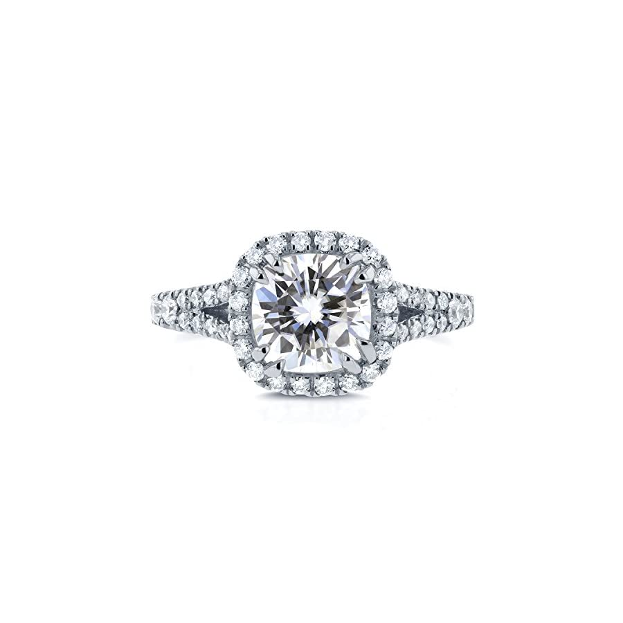 Cushion Moissanite Engagement Ring with Halo Diamond 2 1/10 CTW 14k White Gold