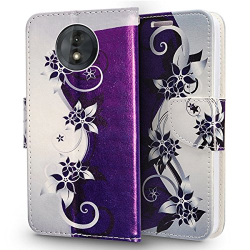 Luckiefind Case Compatible With Motorola Moto E5 Play/Moto E5 Cruise, Premium PU Leather Flip Wallet Credit Card Cover Case Accessories (Wallet Purple vine)