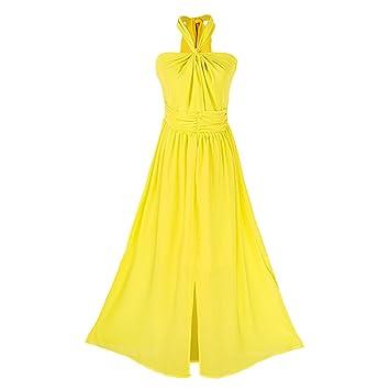 Vestidos de Color Amarillo Halter Beach Dress Bohemia Long Skirt Woman Summer (Color : Amarillo